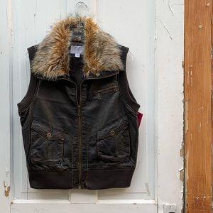 Faux leather vest with faux fur collar Size XXL